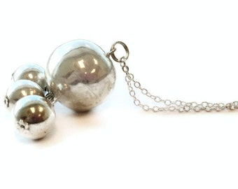 Long Silver Necklace Sterling Silver Jewelry Chain Jewellery Pendant Spheres Orbs Beads Round Everyday Fashion