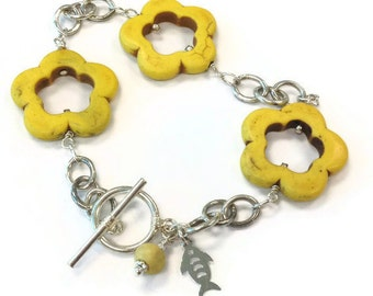 Yellow Turquoise Bracelet - Magnesite Gemstone Jewelry - Sterling Silver Jewellery - Flowers - Fish Charm - Chain - Everyday - Fashion B-112
