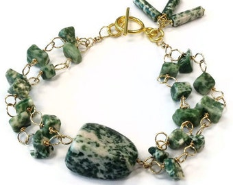 Green Bracelet Double Strand Gold Jewelry Tree Agate Gemstone Jewellery Trendy Wire Wrapped Fashion Green and White B-244