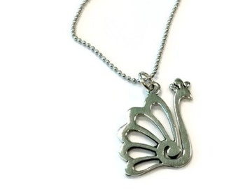 Peacock Necklace - Sterling Silver Jewelry - Charm Jewellery - Chain - Pendant - Beauty N-255