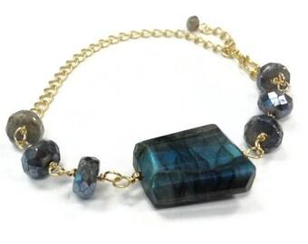 Gray Bracelet - Labradorite Bracelet - Gold Jewelry - Gemstone Jewellery - Chain - Grey Fashion Luxe Wire Wrapped Iridescent B-242
