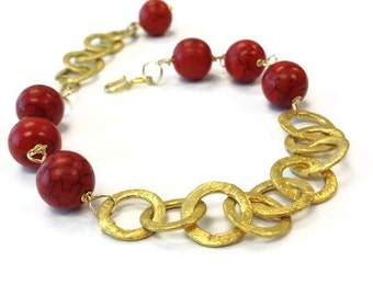 Red Bracelet Turquoise and Gold Jewelry Natural Gemstone Jewellery Chain Unique Extender Fashion Trendy B-252