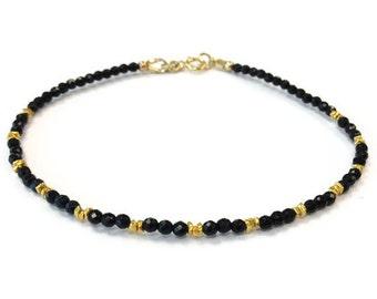 Thin Black Bracelet - Onyx Jewelry - Gemstone Jewellery - 24K Gold - Vermeil - Beaded - Stackable - Layer - Everyday - Minimal