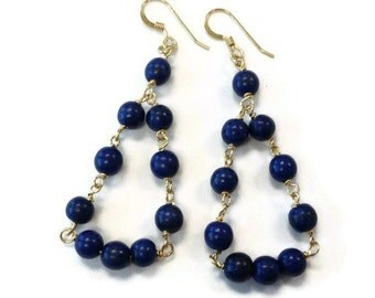 Navy Blue Earrings - Gold Jewelry - Turquoise Gemstone Jewellery - Dangle - Fashion ER-143
