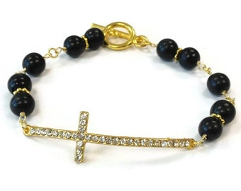 Sideways Cross Bracelet - Black Jewellery - Yellow Gold Jewelry - Turquoise Gemstone - Religion - Religious - Crystal B-331
