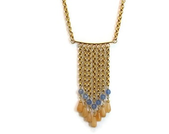 Fringe Necklace - Gold Jewelry - Chevron Jewellery - Modern - Vermeil - Peach - Blue - Jade - Moonstone - Gemstones