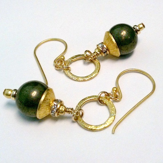 Pyrite Earrings Yellow Gold Jewelry Fools Gold Jewellery Natural Gemstone ER-99