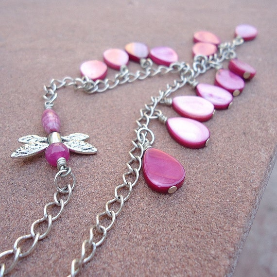 hot pink necklace silver jewelry dragonfly jewellery