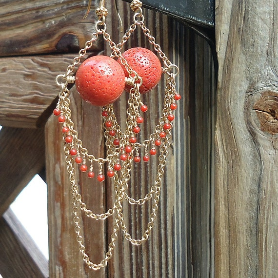 Coral Chandelier Earrings Yellow Gold Jewelry Salmon Tangerine Dangle Chain Pierced Runway Style Edgy Fashion Long
