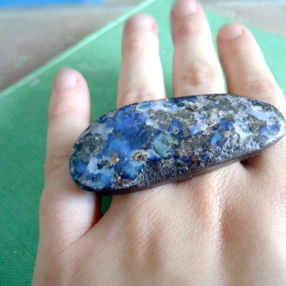 Double Finger Ring Blue Boulder Opal Jewelry Silver Blue Stone Denim Natural Gemstone Jewellery