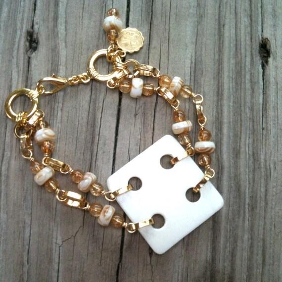 Cream Bracelet Fleur De Lis Charm Gold Jewellery Double