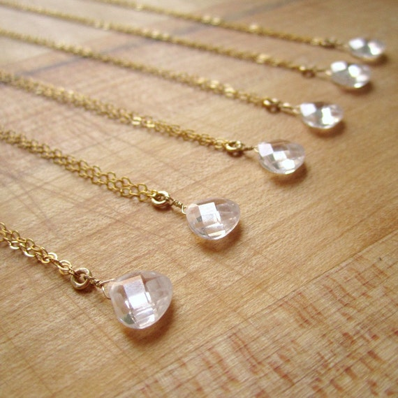 Bridesmaids Necklace - Cubic Zirconia Jewelry - Gold Filled Jewellery - Bridesmaid Gifts