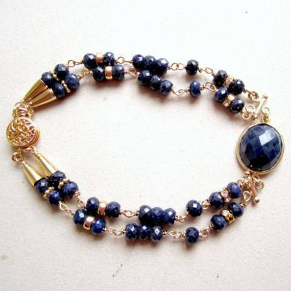 Navy Blue Sapphire Bracelet Yellow Gold Jewelry September Birthstone Jewellery Double Strand Gemstone Glam Elegant B-59