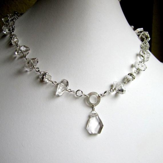 Clear Crystal Quartz Necklace - Wedding Jewelry - Crystal Necklace - Sterling Silver Jewelry - Bride Sparkle Pendant Glam N-83