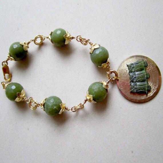 Olive Green Bracelet Yellow Gold Jewelry Jade Gemstone Jewellery Vintage Owl Charm Natural Women 12th Wedding Anniversary B-56
