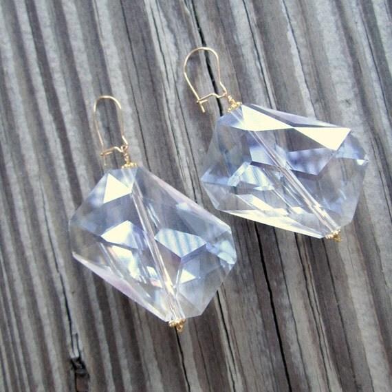 Clear Crystal Earrings - Wedding Jewellery - Bride - 24K Gold Vermeil Jewelry Glam Fashion Chunky N-28