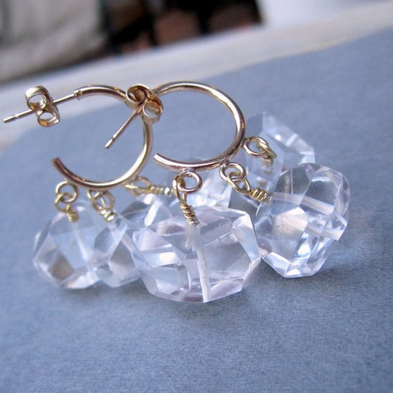 Quartz Earrings - Gold Filled Hoops - Clear Crystal Jewellery - Fine Jewelry - Luxe - Couture - Chunky - Wedding