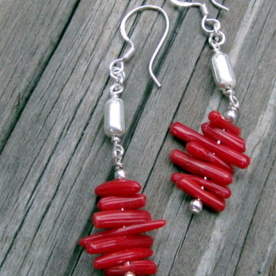 Red Coral Earrings Jewelry Sterling Silver Gemstone 925 Gift Under 20 Funky, Jewelry