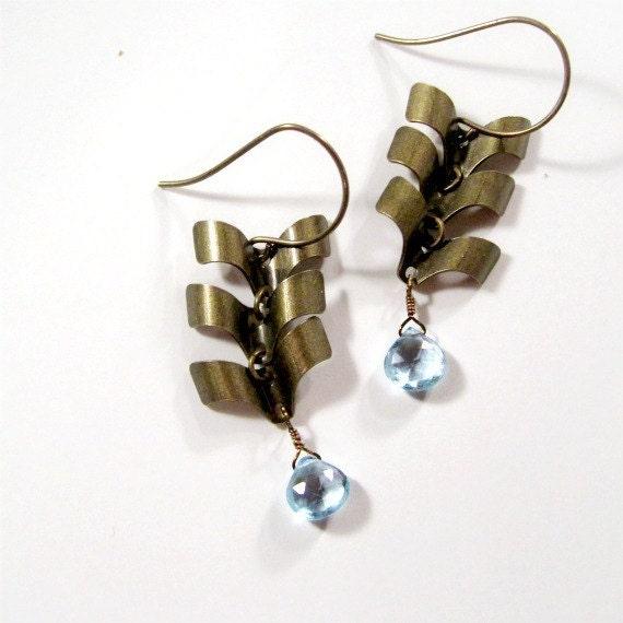 Blue Earrings - Topaz Jewelry - December Birthstone - Brass Jewellery - Gemstone - Chevron - Arrow - Handmade - Unique - Fashion ER-74
