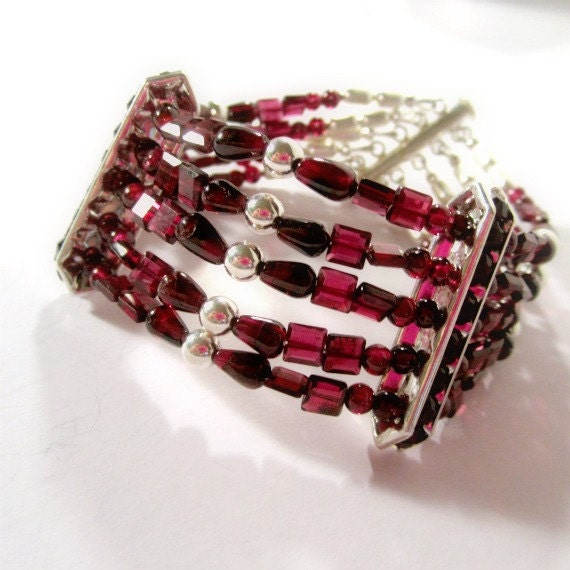 Red Garnet Bracelet - January Birthstone Jewelry - Sterling Silver Jewellery - Multi Strand - Crimson - Natural Gemstone - Beaded B-109