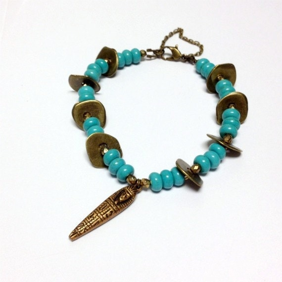 Turquoise Bracelet Brass Jewelry Egyptian Jewellery Mummy Charm Unique Handcrafted Egypt Funky Safety Chain B-122