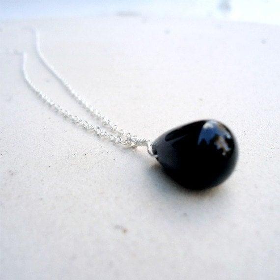 Black Teardrop Necklace Sterling Silver Jewelry Onyx Natural Gemstone Jewellery Chain Drop Pendant Bridesmaid Wedding N-163