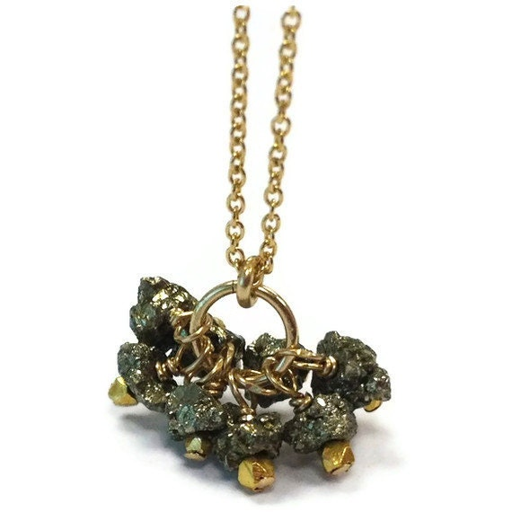 pyrite necklace fools gold jewelry cluster pendant