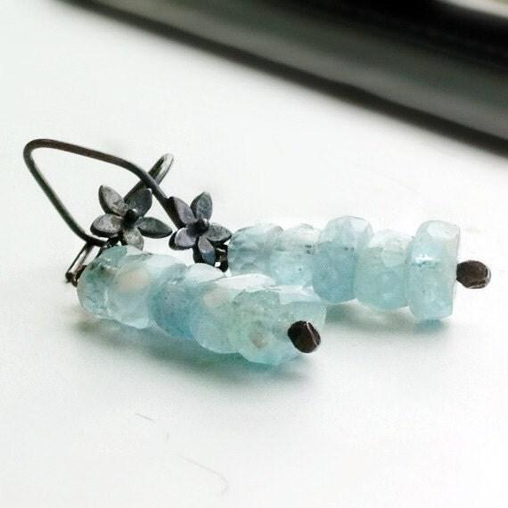Aquamarine Earrings Oxidized Sterling Silver Jewelry Gemstone Dangle Flower Earrings March Birthstone ER-113