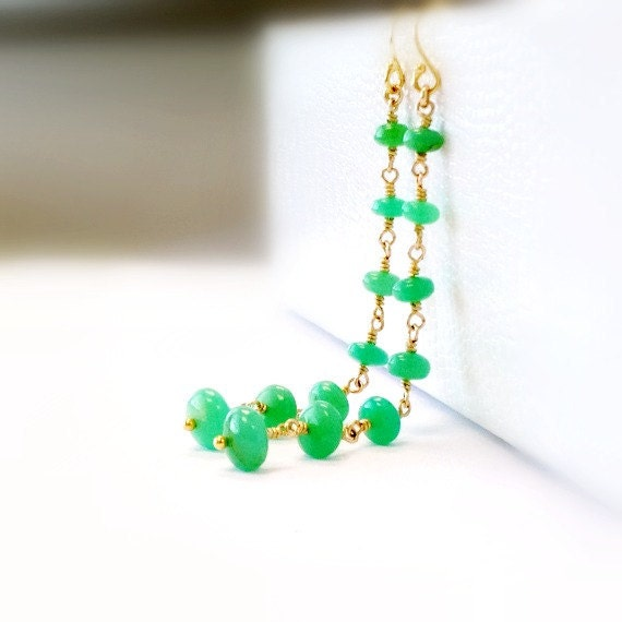 Chrysoprase Earrings - Gold Filled - Green Gemstone Jewellery - Fine Jewelry - St Patricks Day