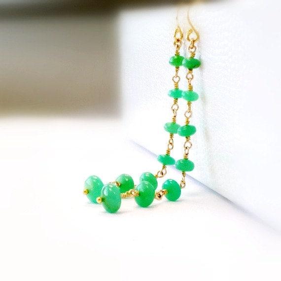 Chrysoprase Earrings - Gold Filled - Green - Gemstone - Fine Jewelry