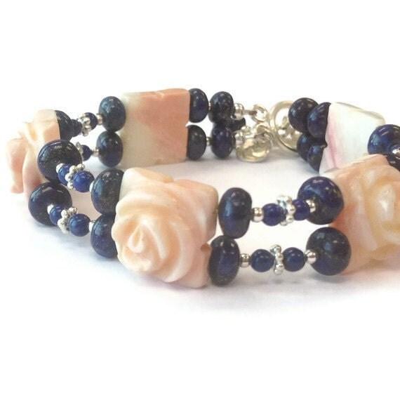 Navy Blue Lapis Lazuli Bracelet Carved Coral Sterling Silver Jewelry Flower Jewellery Gemstone Double Strand Salmon 925 Charm B-211