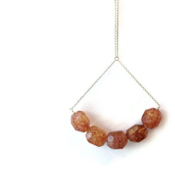 Amber Necklace - Sterling Silver Jewelry - Gemstone Jewellery - Modern - Agate  - Natural