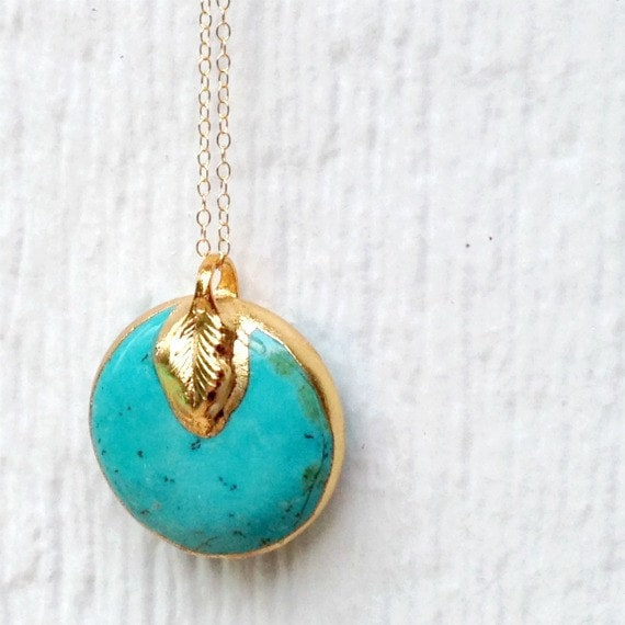 Turquoise Necklace Turquoise Pendant Yellow Gold Jewelry Modern Hipster Everyday Jewellery