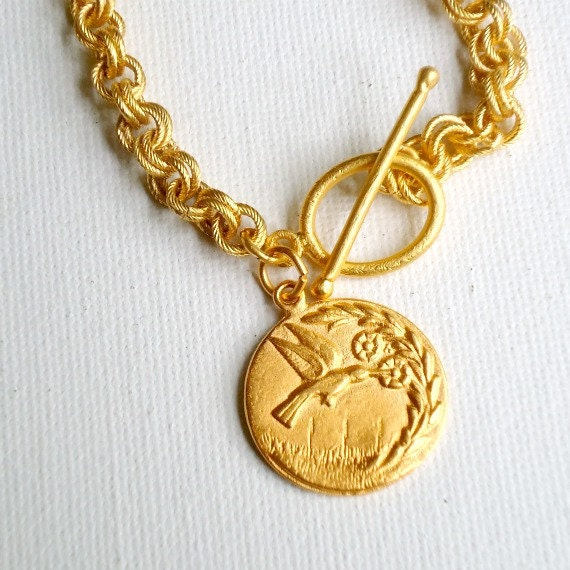 Gold Necklace Gold Jewelry Hummingbird Jewellery Pendant Charm Chain Everyday Chunky Graduation Texas State Bird N-235