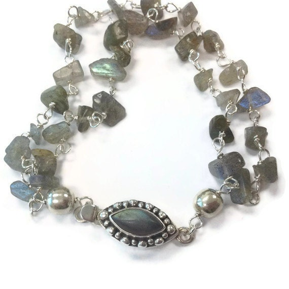Labradorite Bracelet - Gray Jewellery - Box Clasp - Sterling Silver Jewelry - Multistrand - Grey - Natural Gemstone  B-235