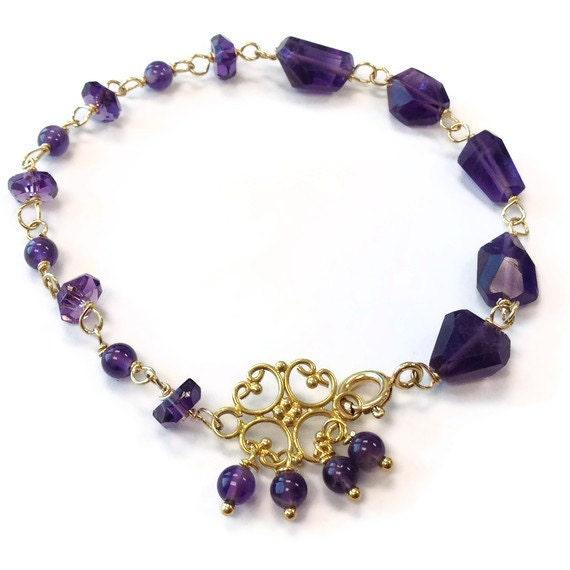 Amethyst Bracelet - Amethyst Jewelry - February Birthstone Jewellery - Purple Jewelry - Asymmetric - Yellow Gold - Nugget - Gemstone - 259