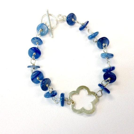 Blue Kyanite Bracelet Sterling Silver Jewelry Denim Gemstone Jewellery Flower Connector Summer Fashion Everyday B-265