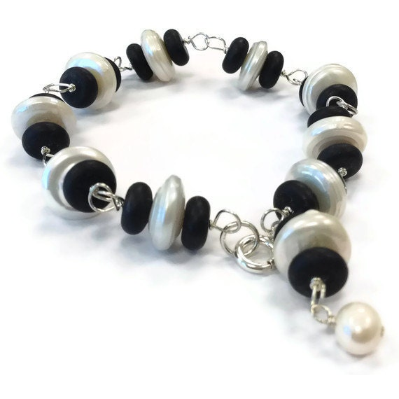 Black Bracelet Sterling Silver Jewelry Freshwater Pearls Black Jade Gemstone Jewellery Wire Wrapped Unique handmade Black and White B-266