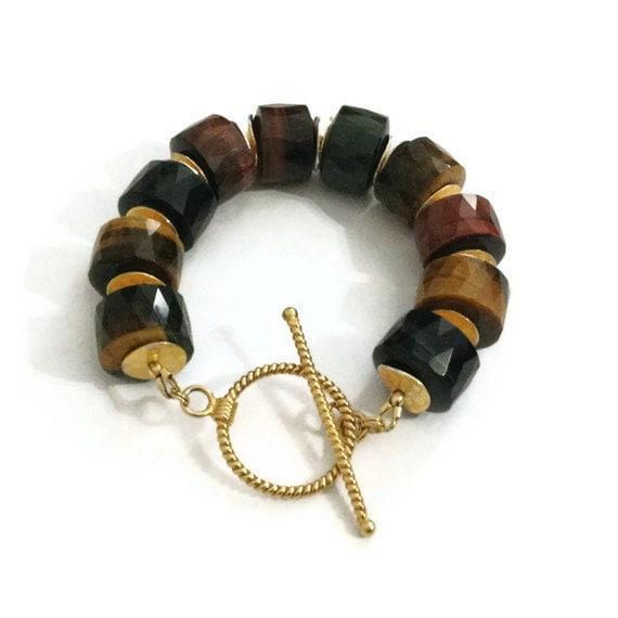 Tigers Eye Bracelet Chunky Bracelet Gold Jewelry Red Brown Beaded Gemstone Jewellery Funky Mod Statement
