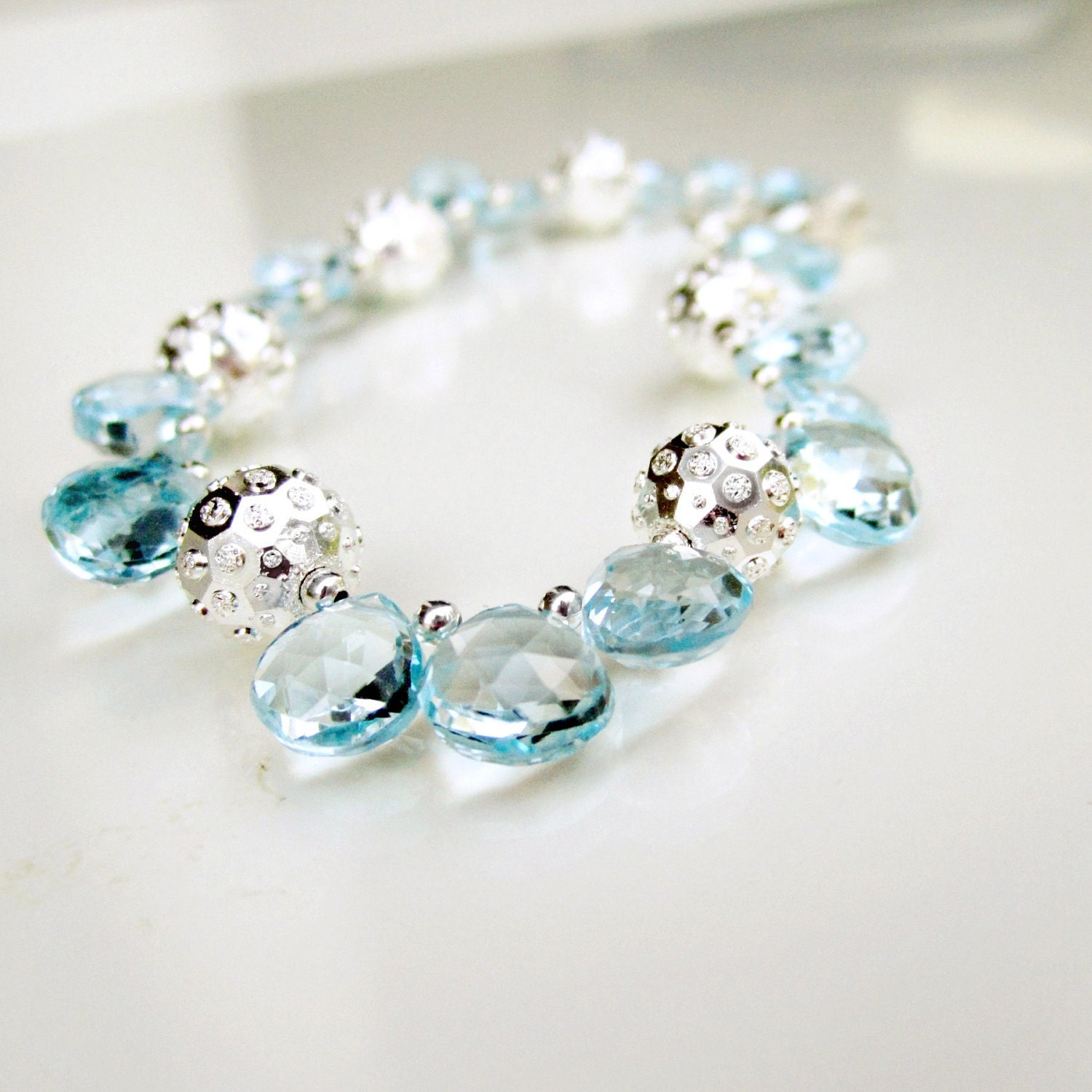 Blue Topaz Bracelet December Birthstone Jewelry Sterling