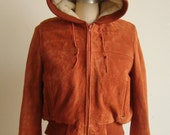 Rust Suede Shearling Lined Hooded Bomber Jacket S