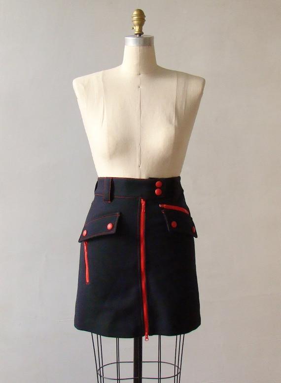 Navy Wool Marc Jacobs Mod  Mini Skirt S/M