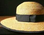 Vintage Straw Hat, women's wide brimmed straw hat