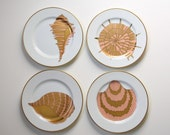 "Sea shells, Dessert plates, Salad plates Fitz and Floyd, shell pattern, ""Coquille d'Or"""