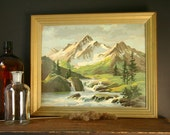 Paint by Number, Mountain scene, vintage painting