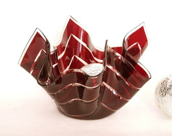 Ruby red  fused glass bowl, glass candle holder