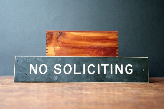 vintage sign: NO SOLICITING,