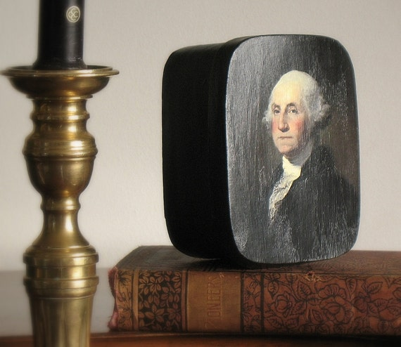 George Washington, wooden box, decoupage