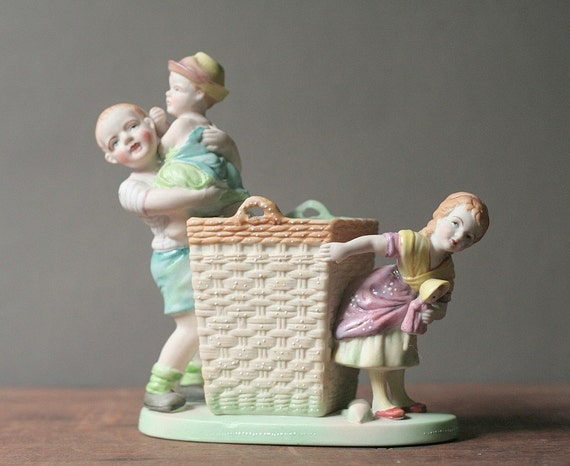 Porcelain figurine, children playing with a basket Nursery decor