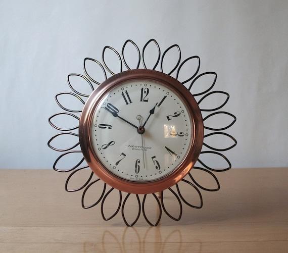 Copper wall clock, vintage starburst clock